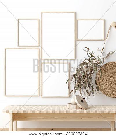 poster of Mock Up Poster Frame In Living Room Interior. Interior Scandinavian Style. 3d Illustration