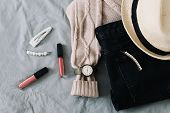 Stylish Flatlay Arrangement With Female Fashion Clothes And Accessories. Stylish Feminine Outfit Con poster