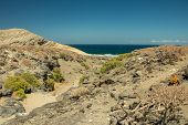Typical View Of The Tenerife South. Dry Sandstones Coastline In The Background. Lava Rocks. Clear Bl poster
