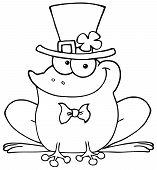 Outlined Happy Leprechaun Frog