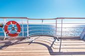 Cruise Ship Wooden Deck And Lifebuoy Ling. Ocean Liner Theme. poster