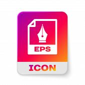 White Eps File Document Icon. Download Eps Button Icon Isolated On White Background. Eps File Symbol poster