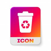 White Recycle Bin With Recycle Symbol Icon Isolated On White Background. Trash Can Icon. Garbage Bin poster