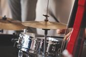 Live Music Background, Drum Set And Red Electric Double Bass, Close-up Photo With Selective Soft Foc poster