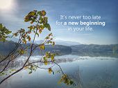 Inspirational Motivational Quote - It Is Never Too Late For A New Beginning In Your Life. With Sun M poster