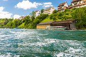 Eautiful View Of The Rhine River In Turquoise, At The Source In Switzerland, Just Behind The Biggest poster