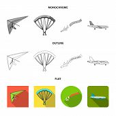 Isolated Object Of Transport And Object Sign. Set Of Transport And Gliding Vector Icon For Stock. poster