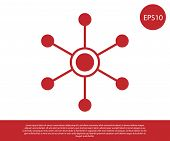 Red Network Icon Isolated On White Background. Global Network Connection. Global Technology Or Socia poster