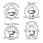 Chef Hat Label Set. Gourmet Chef Food Vector Emblems, Chefs Kitchen Workshop Or Cooking Club Labels  poster