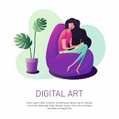 Vector Illustration Of A Girl In A Modern Style. The Designer Sits On A Chair And Draws On A Graphic poster