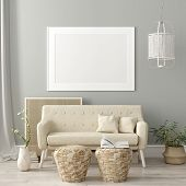 Mock Up Poster Frame In Living Room Interior. Interior Scandinavian Style. 3d Illustration poster