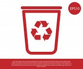 Red Recycle Bin With Recycle Symbol Icon Isolated On White Background. Trash Can Icon. Garbage Bin S poster