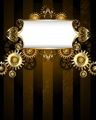Vintage Banner With A Gold Pattern On A Dark Striped Background With Gold And Bronze Gears. Steampun poster