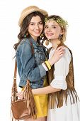 Two Bisexual Hippie Girls Embracing Isolated On White poster