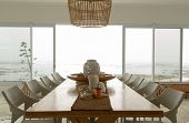 Modern dining room with dining table at home poster
