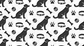 Pet Shop Vector Seamless Pattern With Flat Icons Of Sitting Dog, Collar, Paw, Toy Ball And Bone. Bla poster