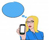 Blond woman with cell phone in pop art style