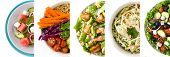 Collage Of Healthy Salad. Greek Salad, Pasta Salad, Caesar Salad, Watermelon Salad And Buddha Bowl poster