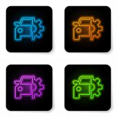 Glowing Neon Car Service Icon Isolated On White Background. Auto Mechanic Service. Mechanic Service. poster