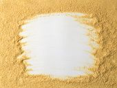 Nutritional Yeast On White Background. Nutritional Inactive Yeast Top View. Copy Space. Nutritional  poster