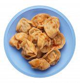 Dumplings On A Light Blue Plate Isolated On White Background. Dumplings In Tomato Sauce. Dumplings T poster