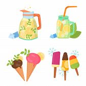 Cooling Things For Summer. Summer Chill Concept Illustration. Chill Juice, Shaved Ice, Lemon Lemonad poster