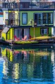 Float Home/ Floating House On The Waterfront At Fishermans Wharf In Victoria, Canada. Residents Livi poster