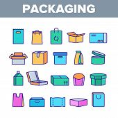 Packaging Types Vector Thin Line Icons Set. Packaging Boxes, Shopping Bags. Cardboard, Paper, Recycl poster