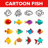 Fish, Exotic Species Vector Thin Line Icons Set. Cartoon Fish, Aquarium And Sea Creature Linear Pict poster
