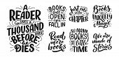 Set With Abstract Lettering About Books And Reading For Poster Design. Handwritten Letters. Typograp poster