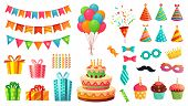 Cartoon Birthday Party Decorations. Gifts Presents, Sweet Cupcakes And Celebration Cake. Colorful Ba poster