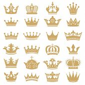 Gold Crown Silhouette. Royal Crowns, Coronation King And Luxury Queen Tiara Silhouettes. Golden Mona poster