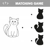 Find The Right Shadow Image. Educational Games For Kids. Cartoon Cat - Matching Game poster