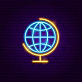 Globe Geography Neon Label. Vector Illustration Of Education Promotion. poster
