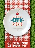 Realistic Plate Poster. Vertical Poster Invitation To The Annual City Picnic Family Holiday Banner W poster