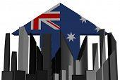 abstract skyline and Australian flag arrow illustration