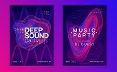 Techno Event. Dynamic Gradient Shape And Line. Curvy Show Cover Set. Neon Techno Event Flyer. Electr poster