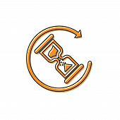 Orange Waiting Icon Isolated On White Background. Wait Time Icon. Hourglass Clock. Vector Illustrati poster