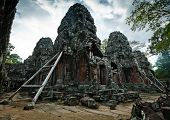 Angkor Temple Ruins Braced With Wooden Support