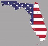 Map  Florida American Usa Flag Illustration Geography poster