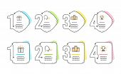 Company, Special Offer And Breathing Exercise Icons Simple Set. Trophy Sign. Building, Delivery Box, poster