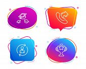 Throw Hats, Share Call And Person Info Icons Simple Set. Victory Sign. College Graduation, Phone Sup poster