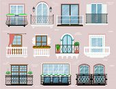 Balcony Vector Vintage Balconied Railing Windows Facade Wall Of Building Illustration Set Of Beautif poster