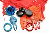 foto of castanets  - Flamenco ornaments consisting of fans - JPG