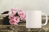 Feminine Floral White Mug Mockup. Perfect For Businesses Selling poster
