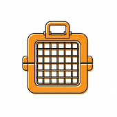 Orange Pet Carry Case Icon Isolated On White Background. Carrier For Animals, Dog And Cat. Container poster
