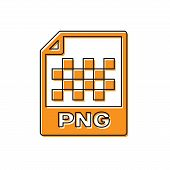 Orange Png File Document Icon. Download Png Button Icon Isolated On White Background. Png File Symbo poster