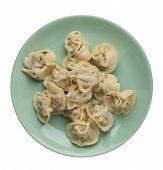 Dumplings On A Light Green Plate Isolated On White Background .boiled Dumplings.meat Dumplings Top V poster