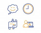 Time, Speech Bubble And Journey Path Icons Simple Set. Online Education Sign. Office Clock, Comic Ch poster