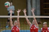 KAPOSVAR, HUNGARY - FEBRUARY 3: Zsanett Pinter (L) in action at the Hungarian Championship volleybal